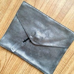 Gap Pewter Metallic Leather Envelope Clutch